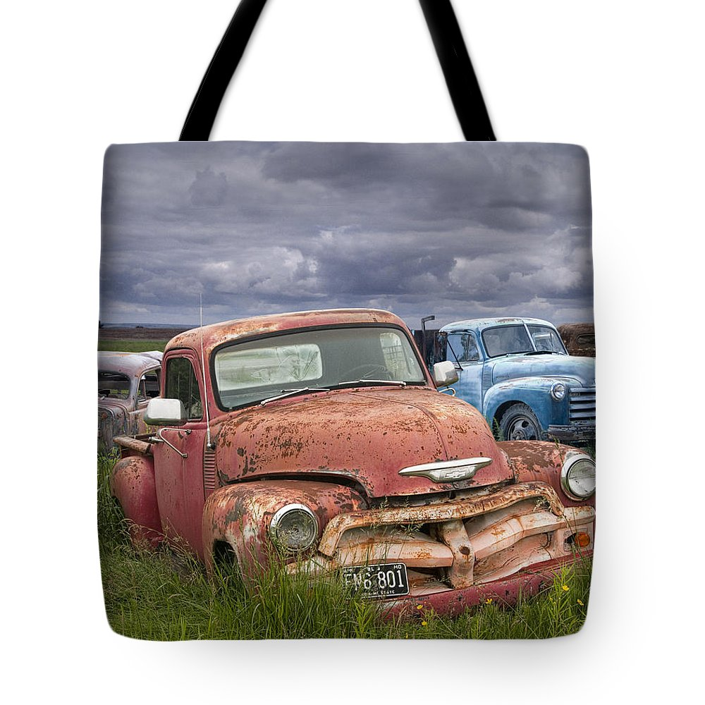 Art Tote Bag featuring the photograph Vintage Auto Junk Yard by Randall Nyhof