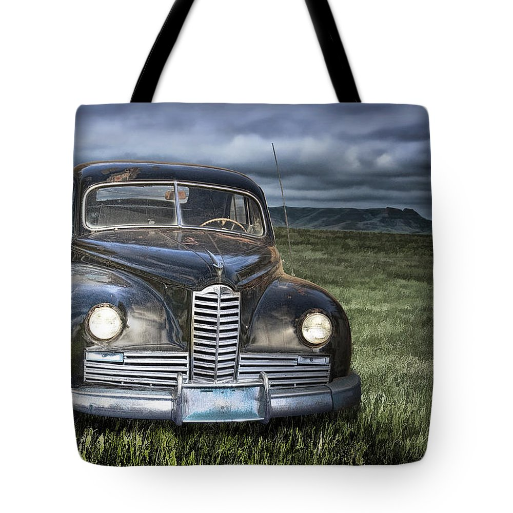 Art Tote Bag featuring the photograph Vintage Auto On The Prairie by Randall Nyhof