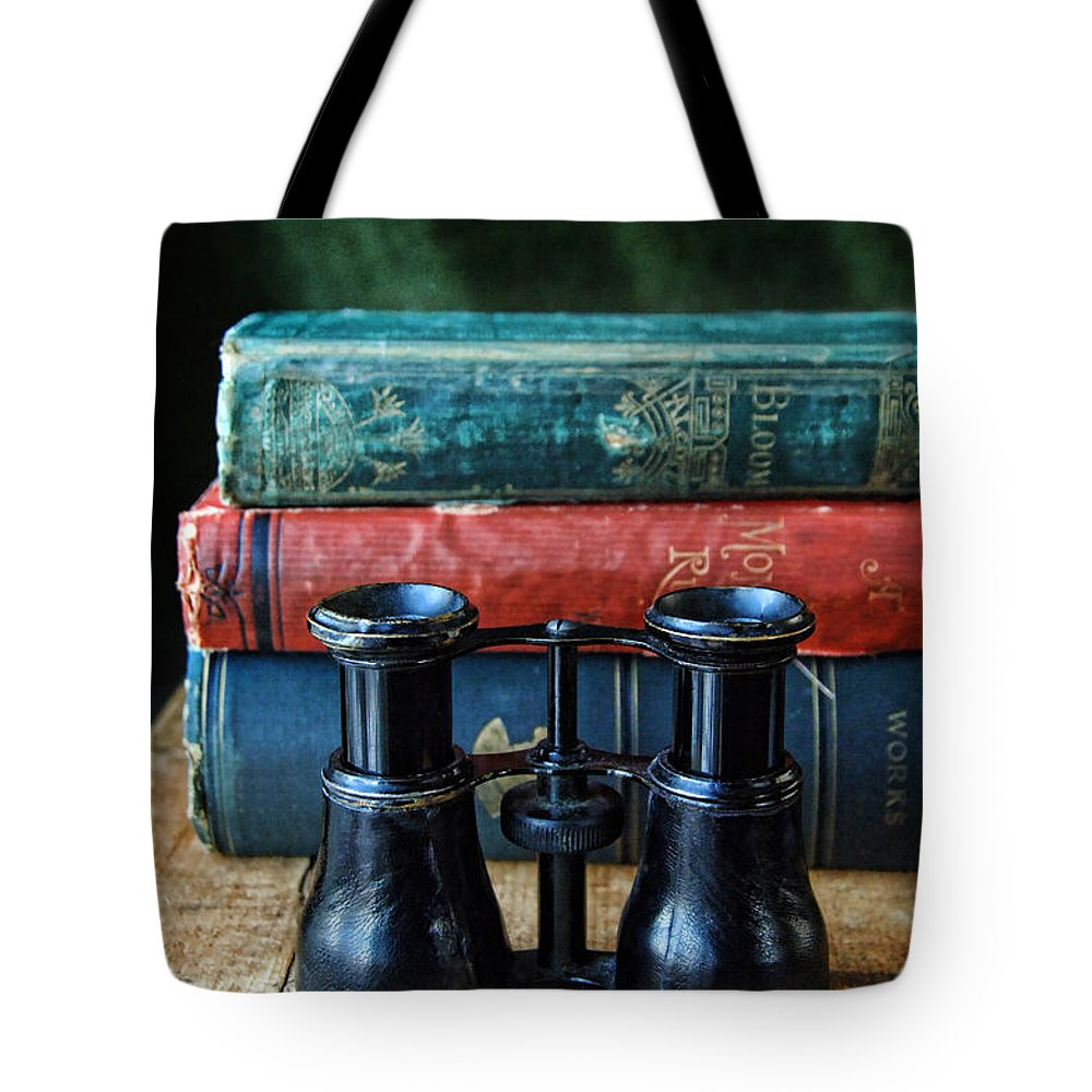 Binoculars Tote Bag featuring the photograph Vintage Binoculars And Books by Jill Battaglia
