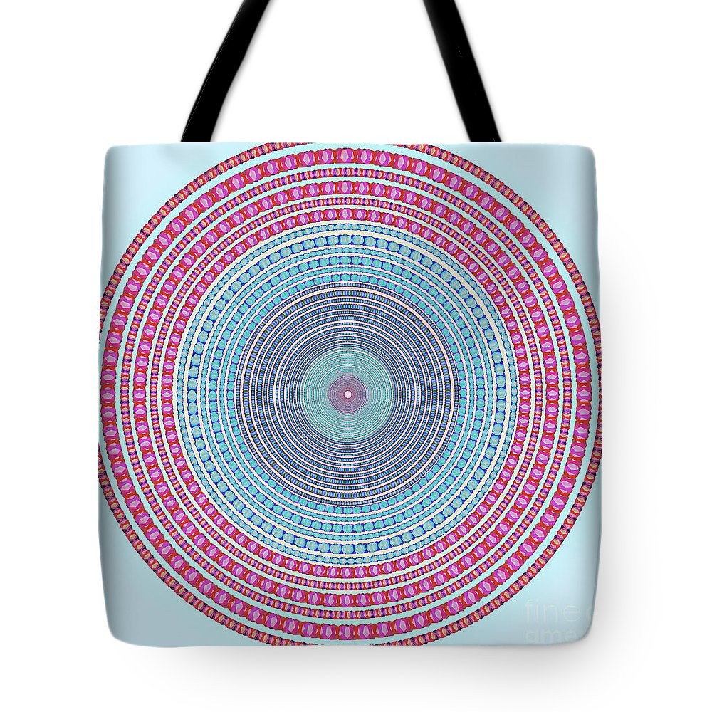 Abstract Tote Bag featuring the digital art Vintage Color Circle by Atiketta Sangasaeng