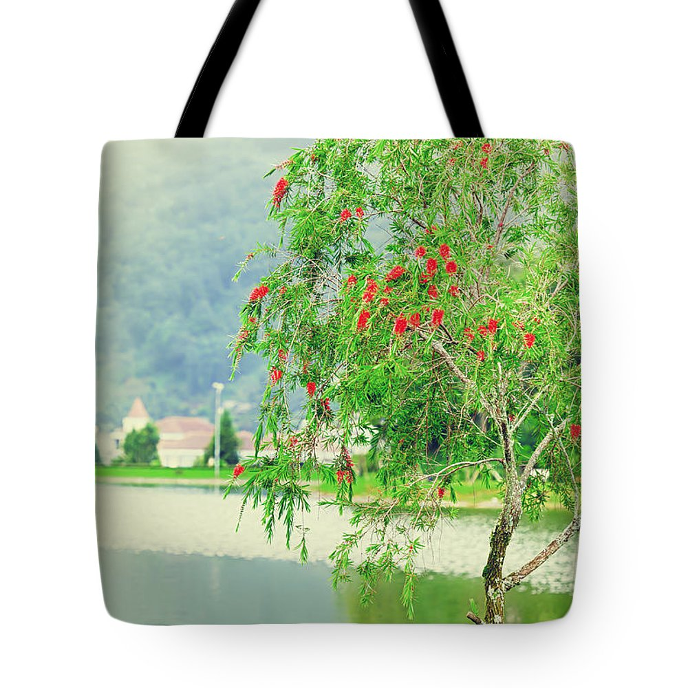Lake Tote Bag featuring the photograph Vintage Landscape by MotHaiBaPhoto Prints