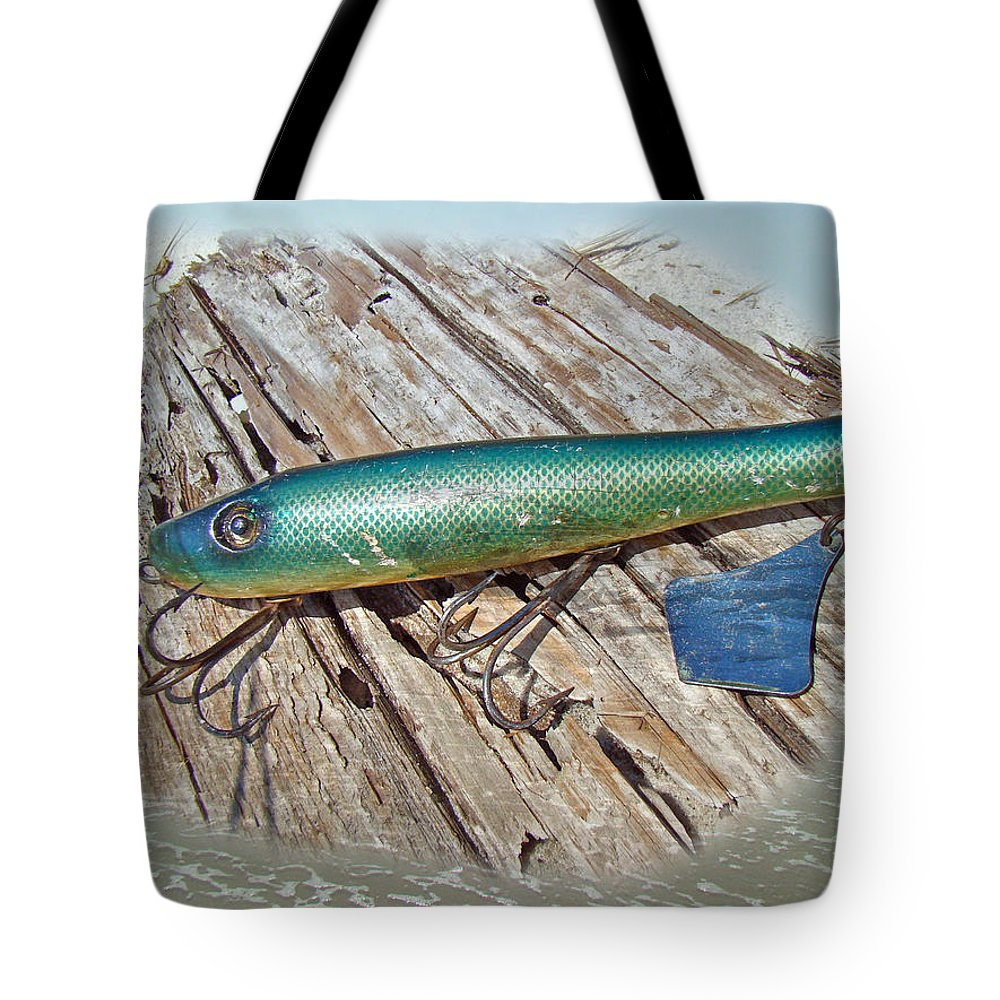 Fishing Tote Bag featuring the photograph Vintage Lido Flaptail Saltwater Fishing Lure by Mother Nature
