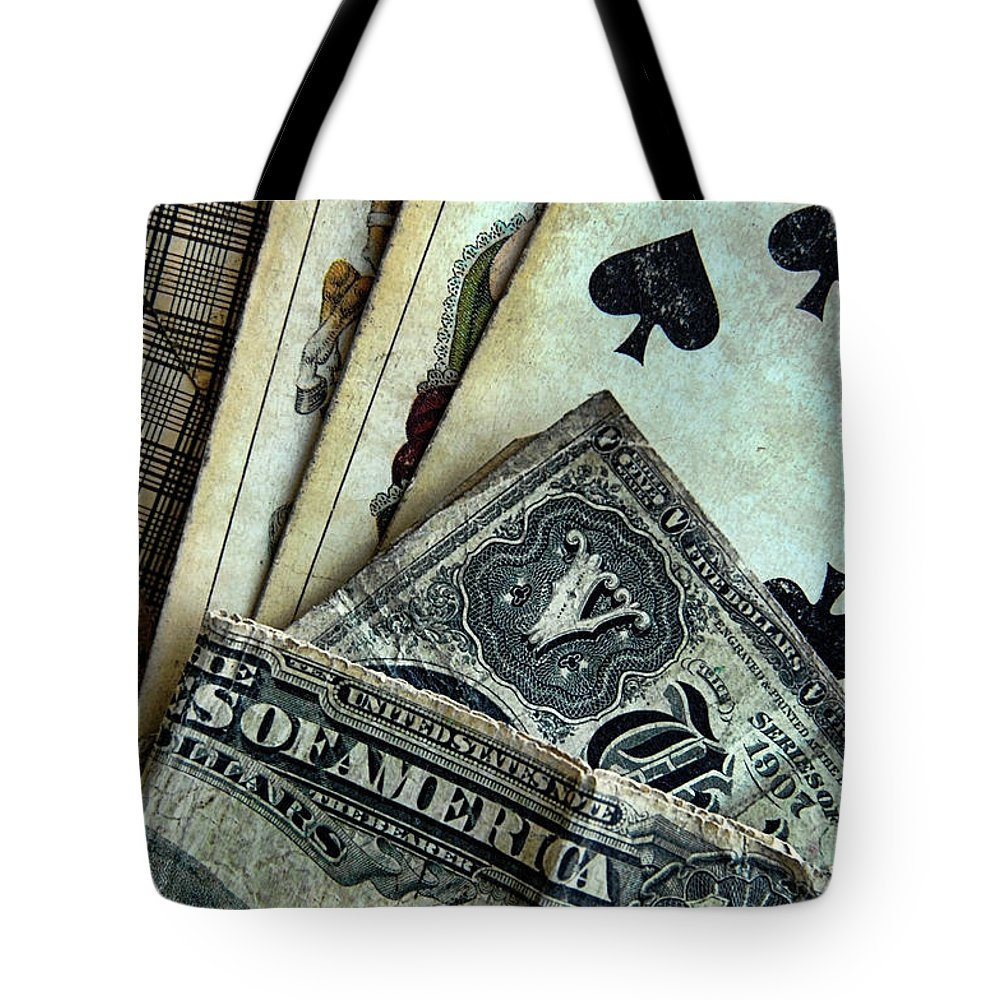 Cards Tote Bag featuring the photograph Vintage Playing Cards And Cash by Jill Battaglia