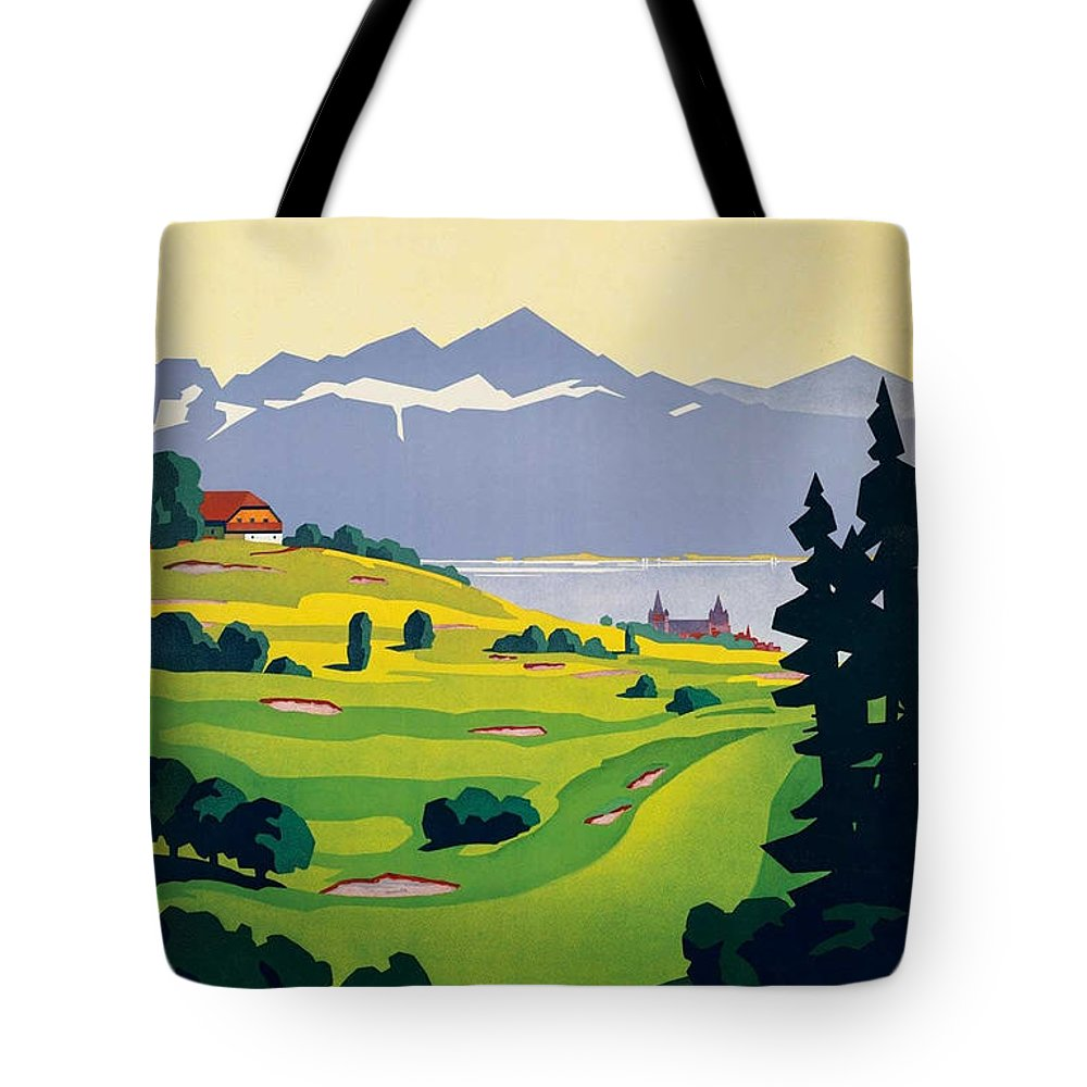 Golf Tote Bag featuring the painting Vintage Switzerland Travel Poster by George Pedro