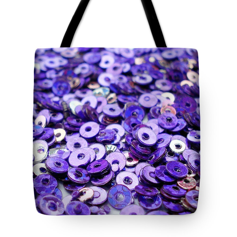 Violet Tote Bag featuring the photograph Violet Beads And Sequins by Sumit Mehndiratta