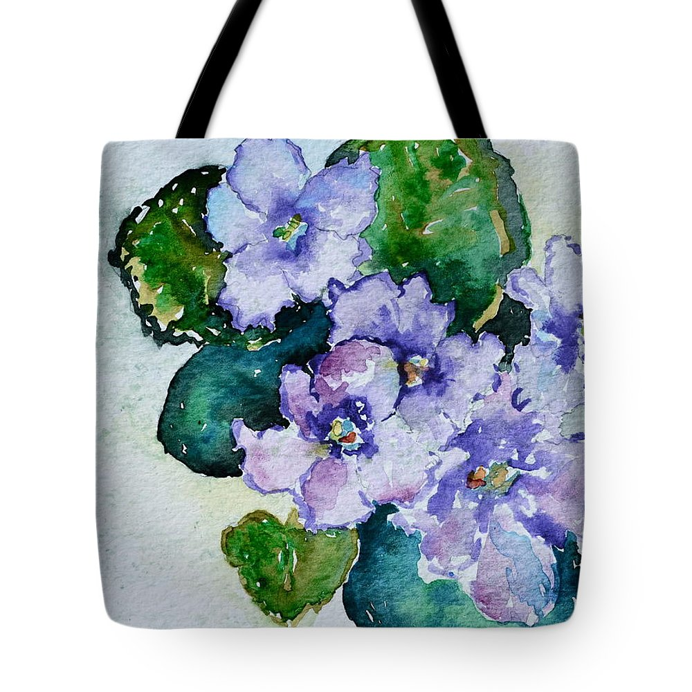 Violets Tote Bag featuring the painting Violet Cluster by Beverley Harper Tinsley