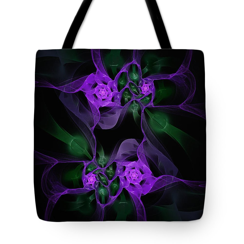 Fractal Tote Bag featuring the digital art Violet Floral Edgy Abstract by Andee Design