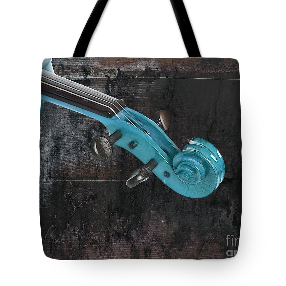 Violin Tote Bag featuring the photograph Violinelle - Turquoise 05a2 by Variance Collections