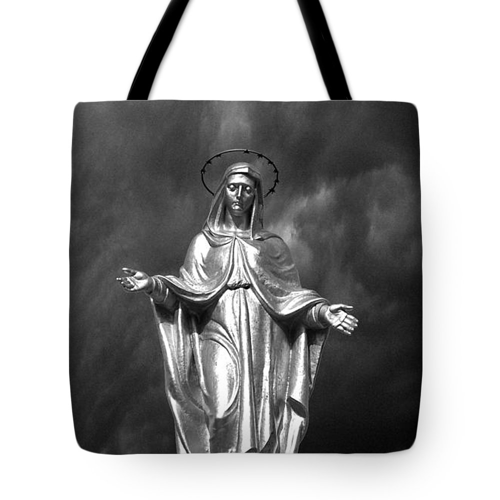 Padua Tote Bag featuring the photograph Virgin Mary And The Thunderstorm Bw by Mike Nellums