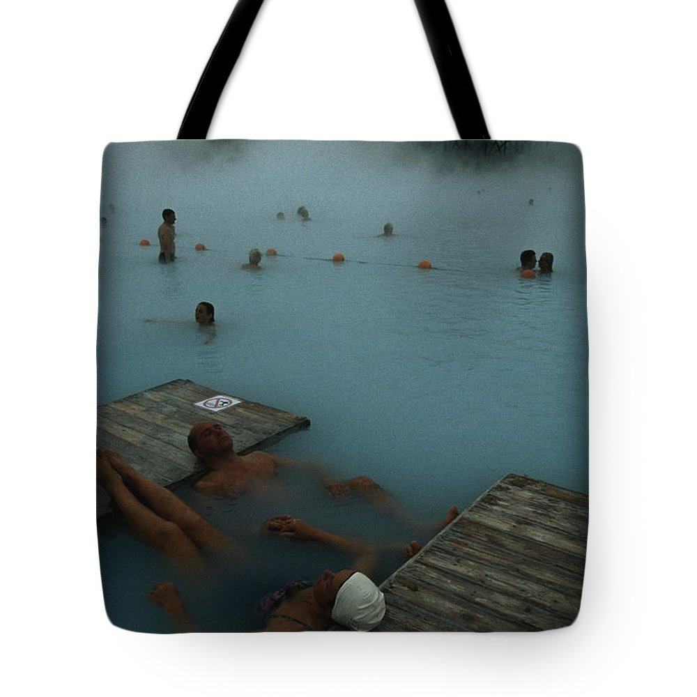 Color Image Tote Bag featuring the photograph Visitors To Thermal Springs Of The Blue by Sisse Brimberg
