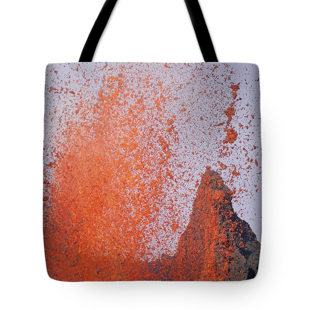 Eruption Tote Bag featuring the photograph Volcanic Eruption, Spatter Cone by Tui De Roy