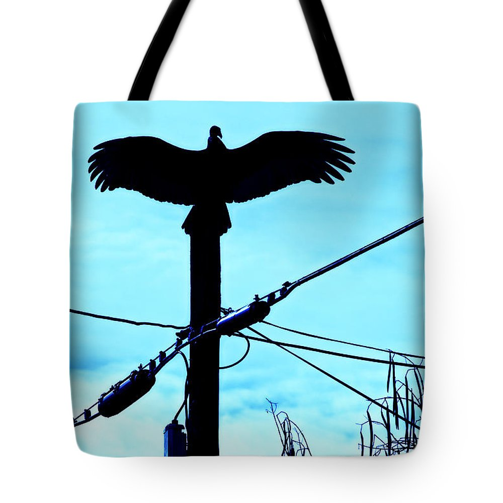 Bird Tote Bag featuring the photograph Vulture On Phone Pole by Garry Gay