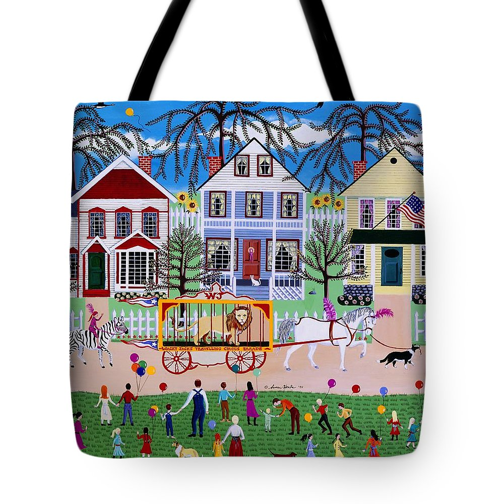 Circus Tote Bag featuring the painting Wacky Jack's Travelling Circus Parade by Susan Henke