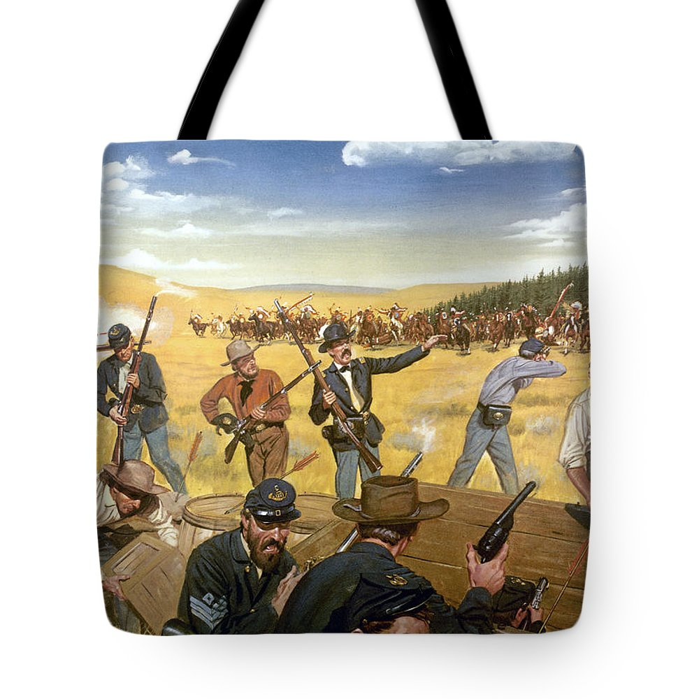 1867 Tote Bag featuring the photograph Wagon Box Fight, 1867 by Granger