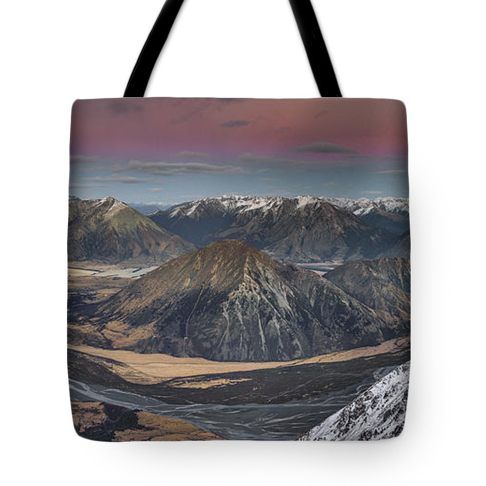 00486212 Tote Bag featuring the photograph Waimakariri River Basin In Predawn by Colin Monteath