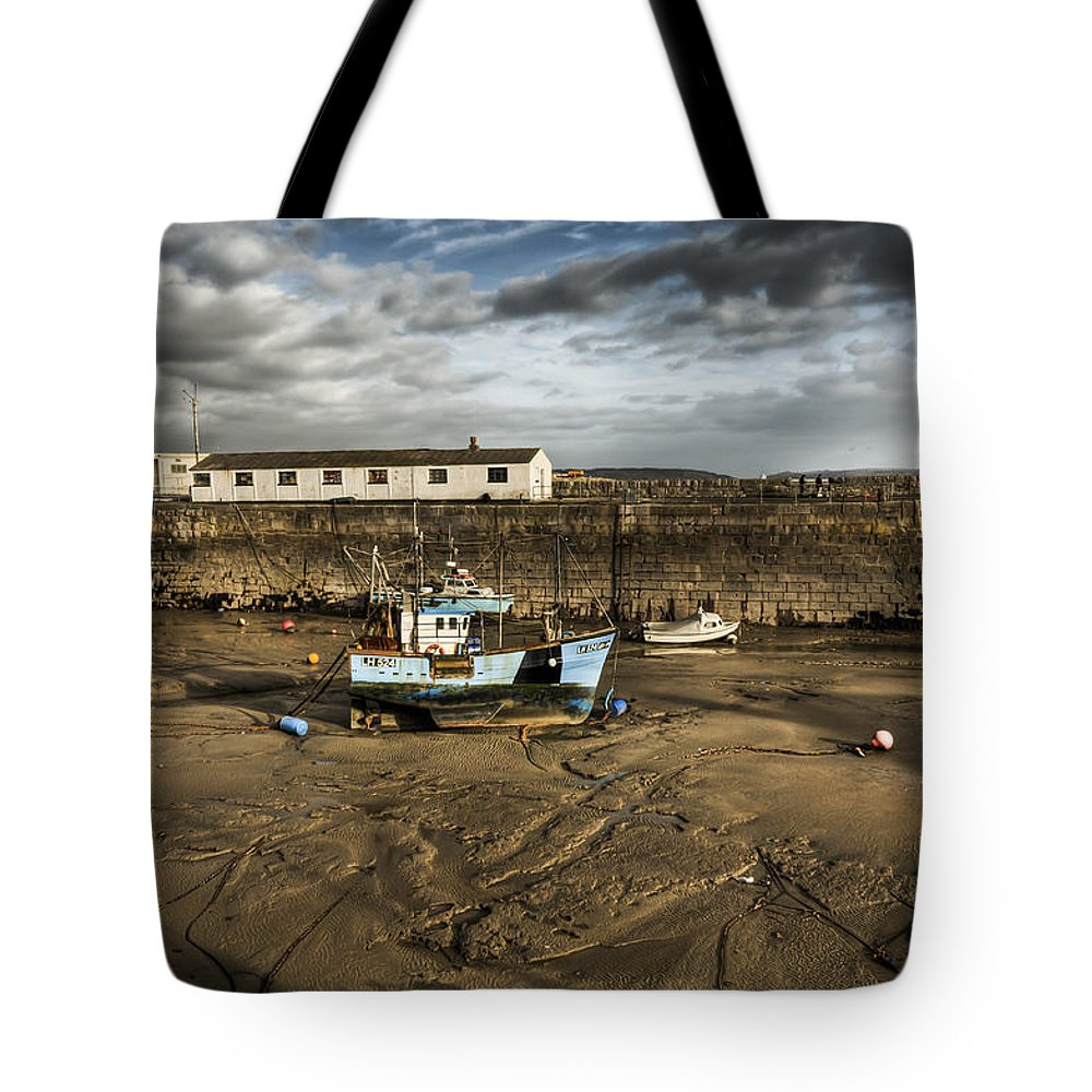 Porthcawl Harbour Tote Bag featuring the photograph Waiting For The Tide by Steve Purnell