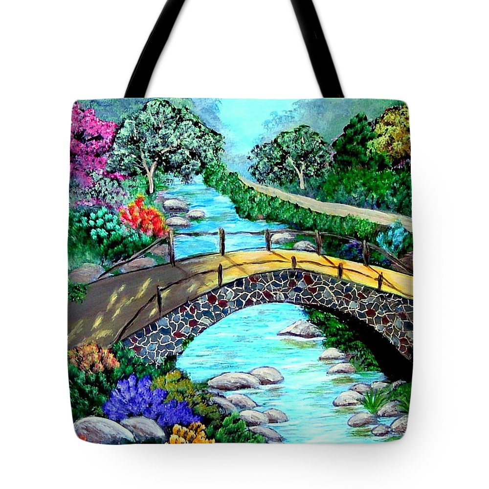 Landscape--floral--stream Tote Bag featuring the painting Walk With Me by Fram Cama