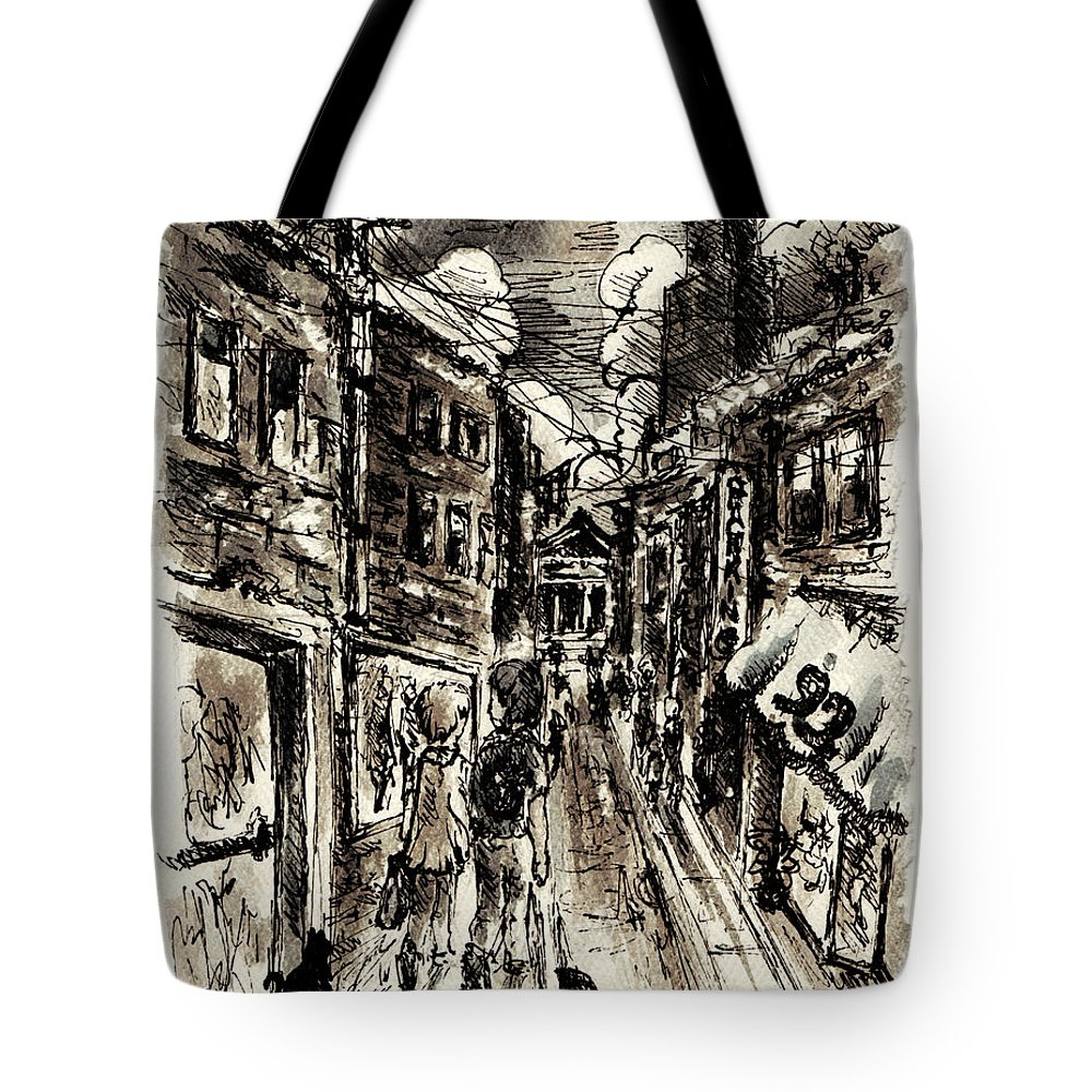 City Tote Bag featuring the painting Walkin In The City by William Russell Nowicki
