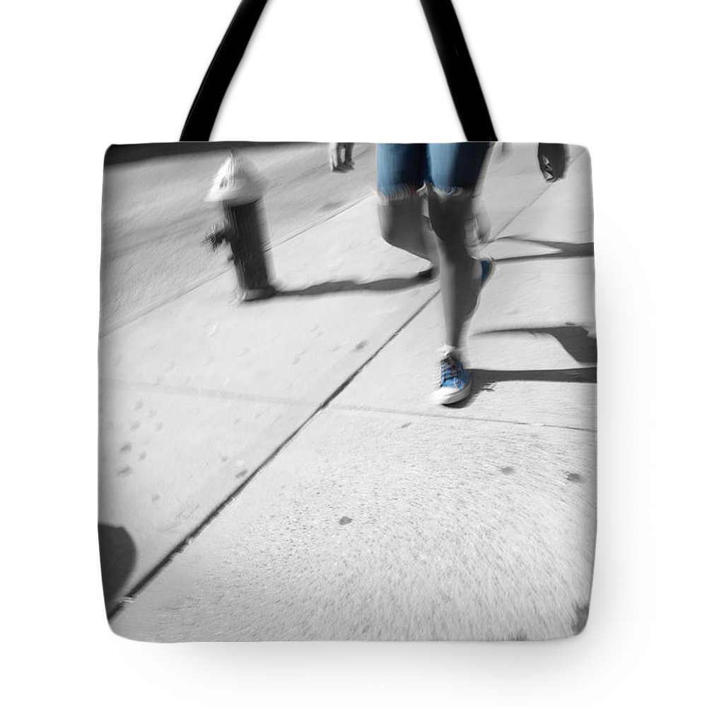 Walking Tote Bag featuring the photograph Walking Blues by Karol Livote