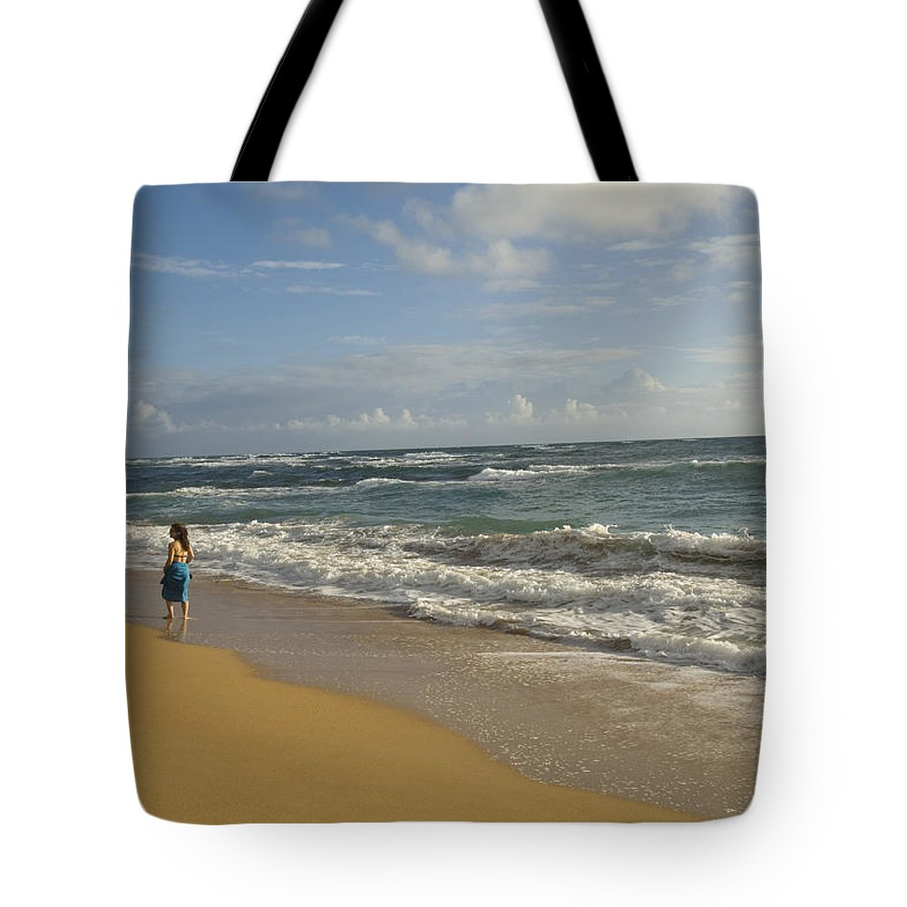 One Woman Tote Bag featuring the photograph Walking In The Water At Anahola Beach by Bill Hatcher