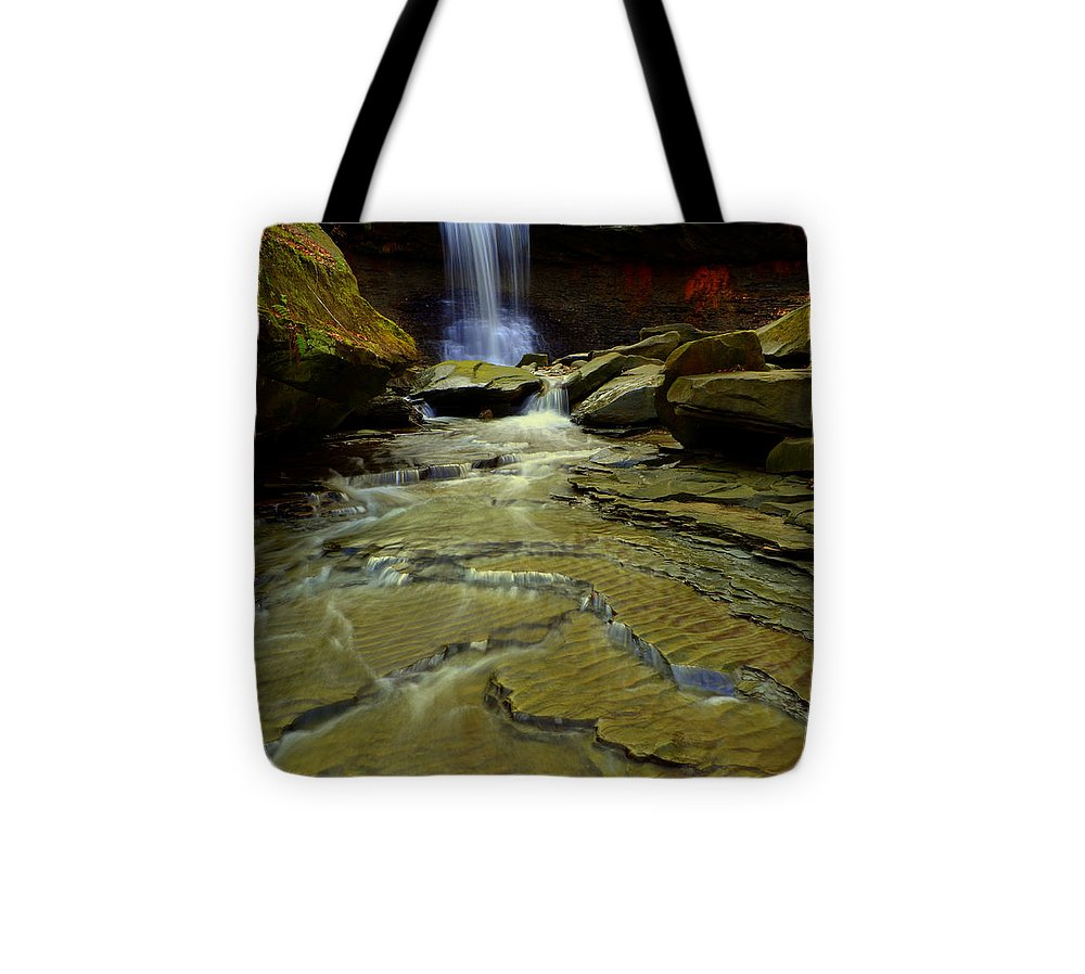 Waterfall Tote Bag featuring the photograph Warm Sky Cool Water by Frozen in Time Fine Art Photography