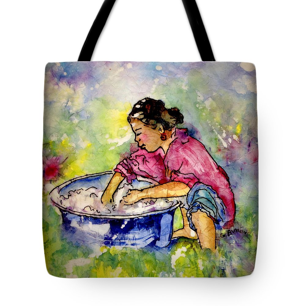 Sky Tote Bag featuring the painting Washerwoman Beauty by Gloria Avner