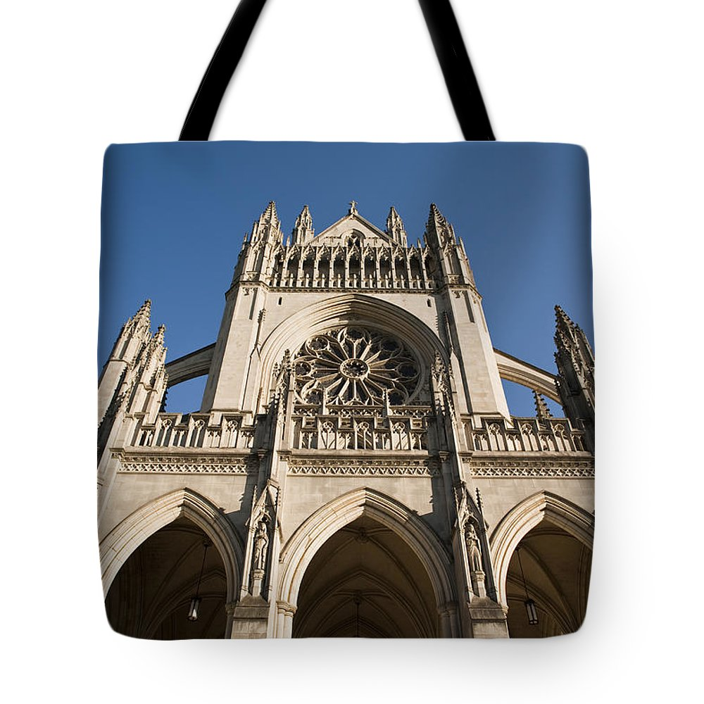 Architecture Tote Bag featuring the photograph Washington National Cathedral Entrance by Richard Nowitz