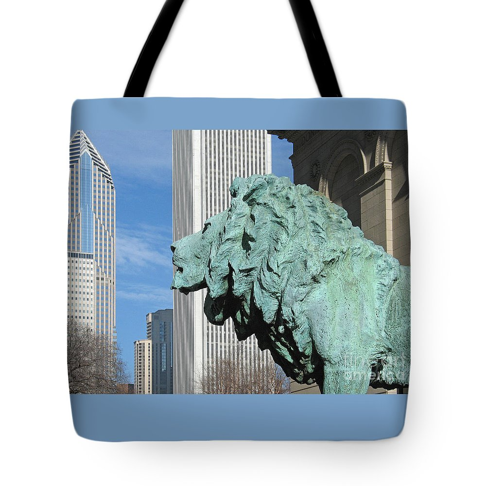 Watching Chicago By Ann Horn Tote Bag featuring the photograph Watching Chicago by Ann Horn