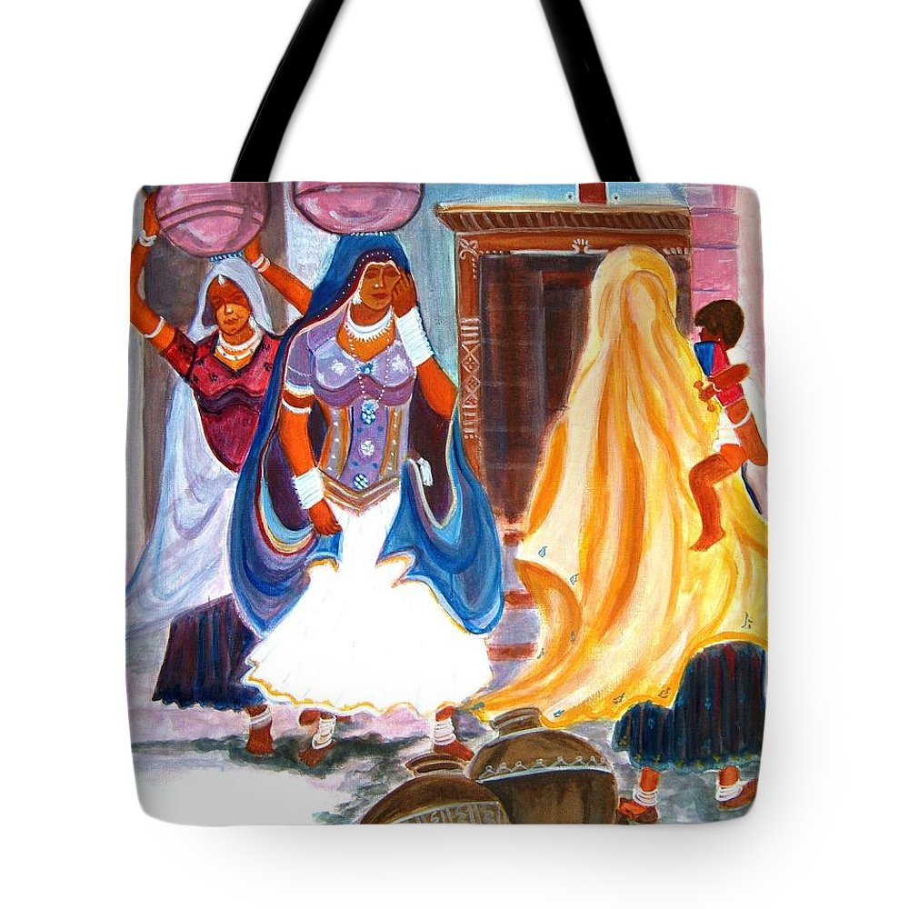 Tribal Tote Bag featuring the painting Water Belles by Manjiri Kanvinde