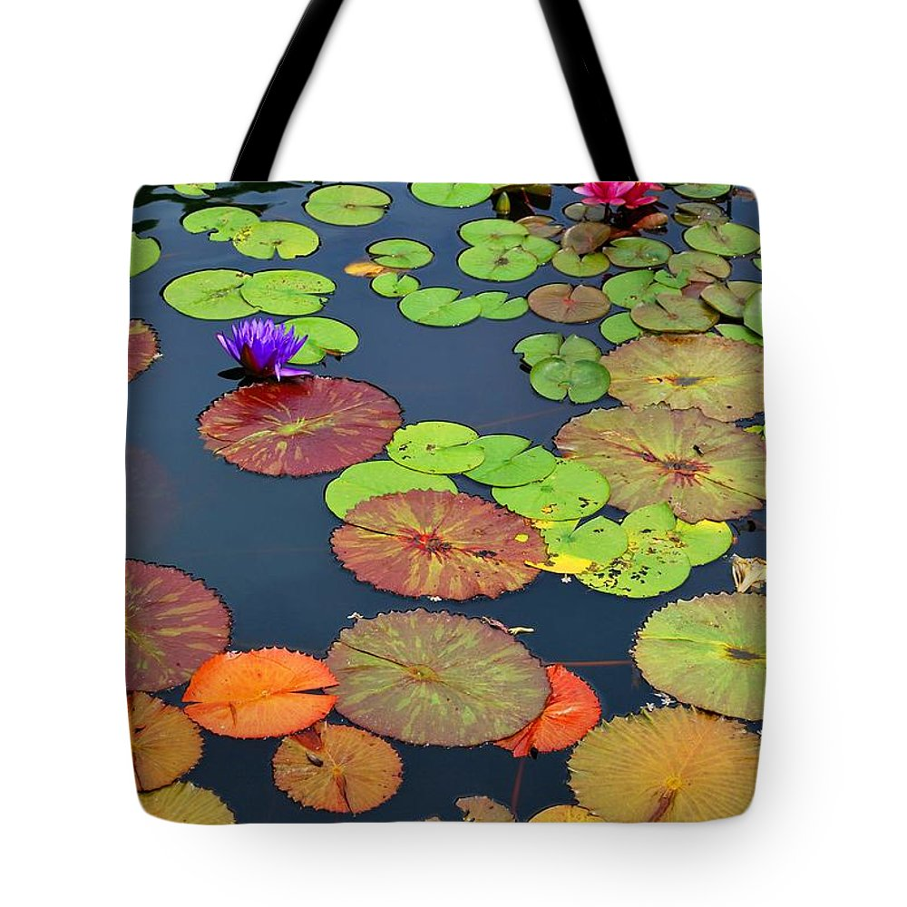 Garden Tote Bag featuring the photograph Water Lilies I by Nancy Mueller