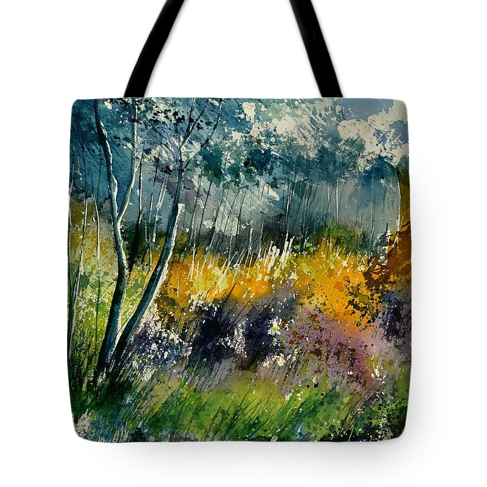 Landscape Tote Bag featuring the painting Watercolor 216050 by Pol Ledent