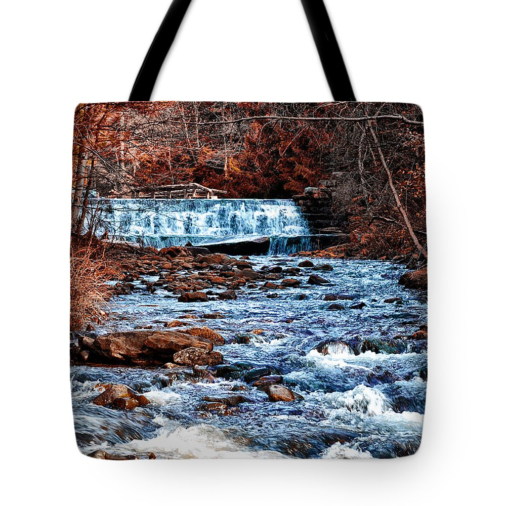 Waterfall Along A Mountain Stream Tote Bag featuring the photograph Waterfall Along A Mountain Stream by Bill Cannon