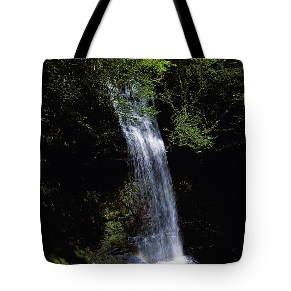 Cloud Tote Bag featuring the photograph Waterfall In A Forest, Glencar by The Irish Image Collection