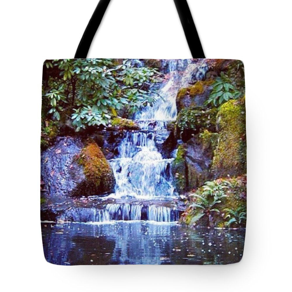 Waterfalls Tote Bag featuring the photograph Waterfall - Portland Japanese Garden Portland OR by Anna Porter