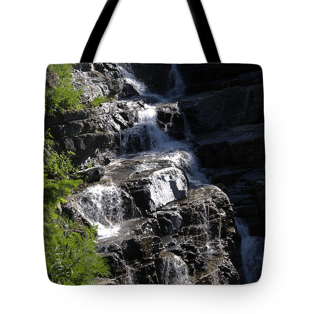Waterfalls Tote Bag featuring the photograph Waterfalls Along Going-to-the-sun Road by Paul Cannon