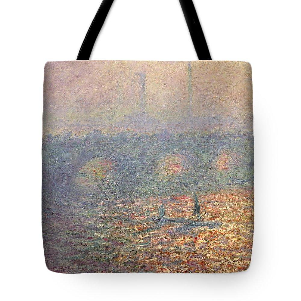 Waterloo Bridge Tote Bag featuring the painting Waterloo Bridge by Claude Monet