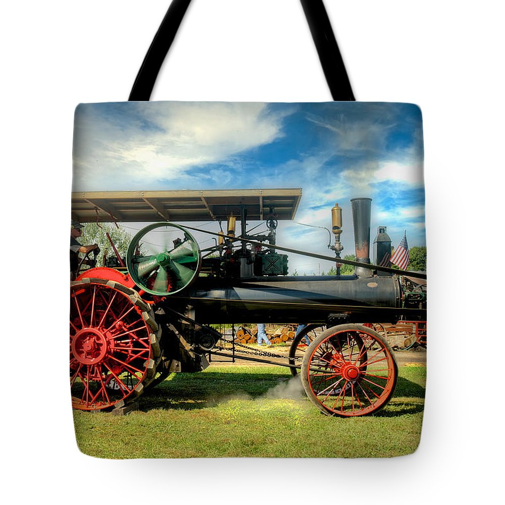 Arcadia Volunteer Fire Company Tote Bag featuring the photograph We Are Driving It Now by Mark Dodd