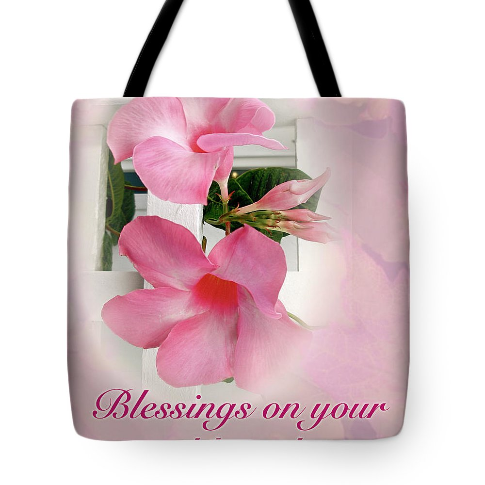 Wedding Blessings Card Pink Mandevilla Vine Tote Bag For Sale By