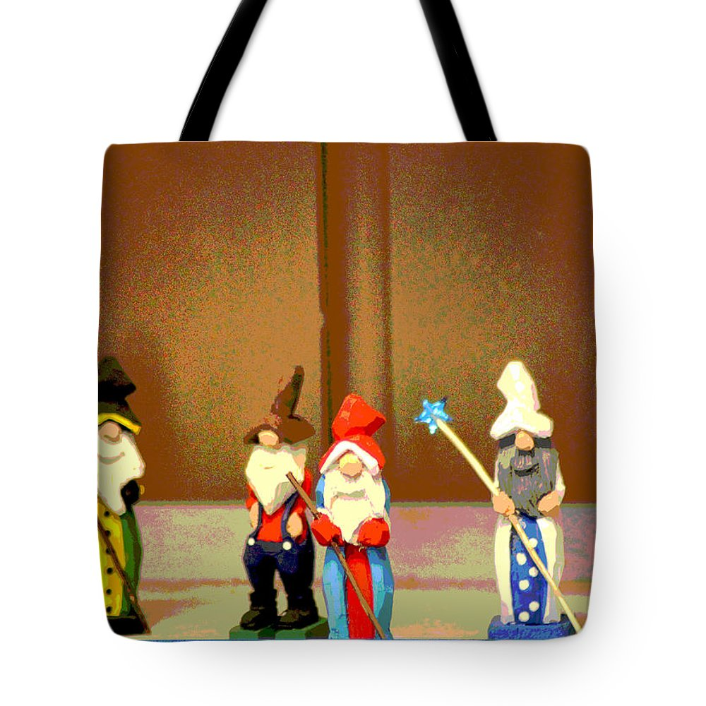 Wood Tote Bag featuring the photograph Wee Wooden People by Karen Wagner