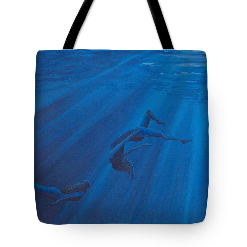 Water Tote Bag featuring the painting Weightless Waters by Jackie Novak