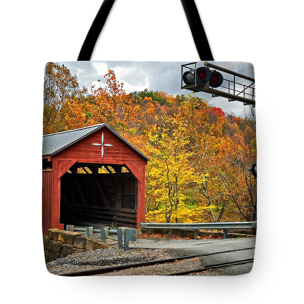 Covered Bridge Tote Bag featuring the photograph West Virginia Covered Bridge - Carrollton by Kathleen K Parker