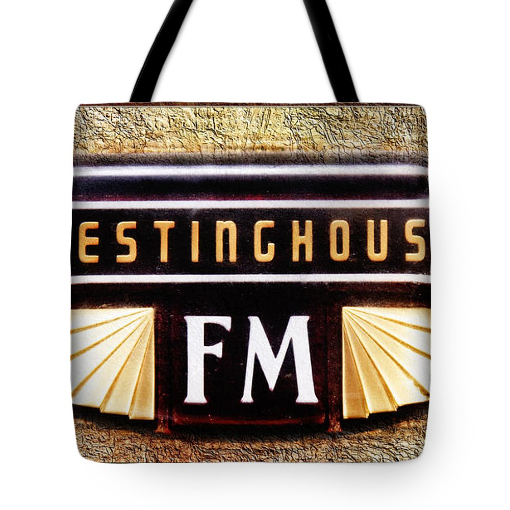 Antique Stereo Tote Bag featuring the photograph Westinghouse Fm Logo by Andee Design