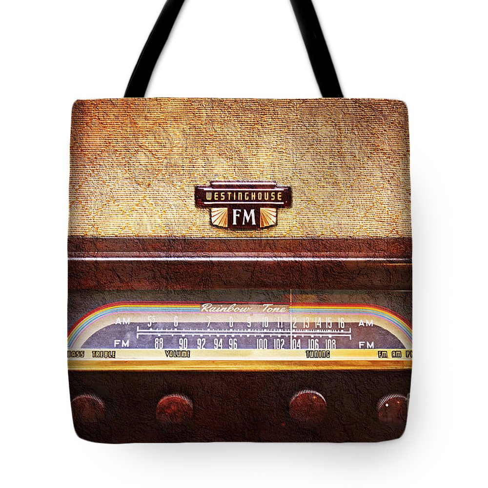 Ancient Tote Bag featuring the photograph Westinghouse Fm Rainbow Tone Radio by Andee Design