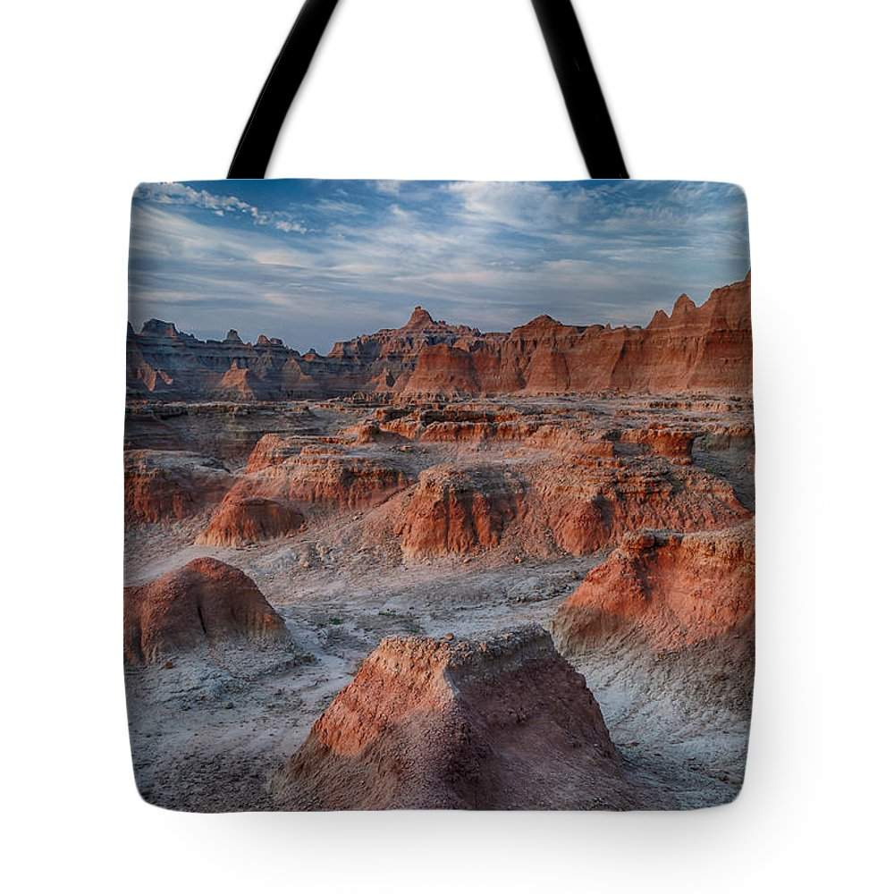Badlands Landscape Morning Tote Bag featuring the photograph What A Planet by Charlie Choc