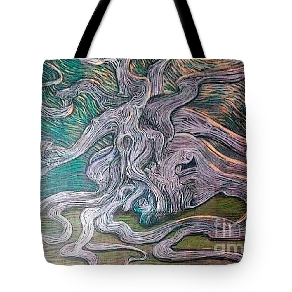Tree Tote Bag featuring the painting What Lies Deep Within by Stefan Duncan