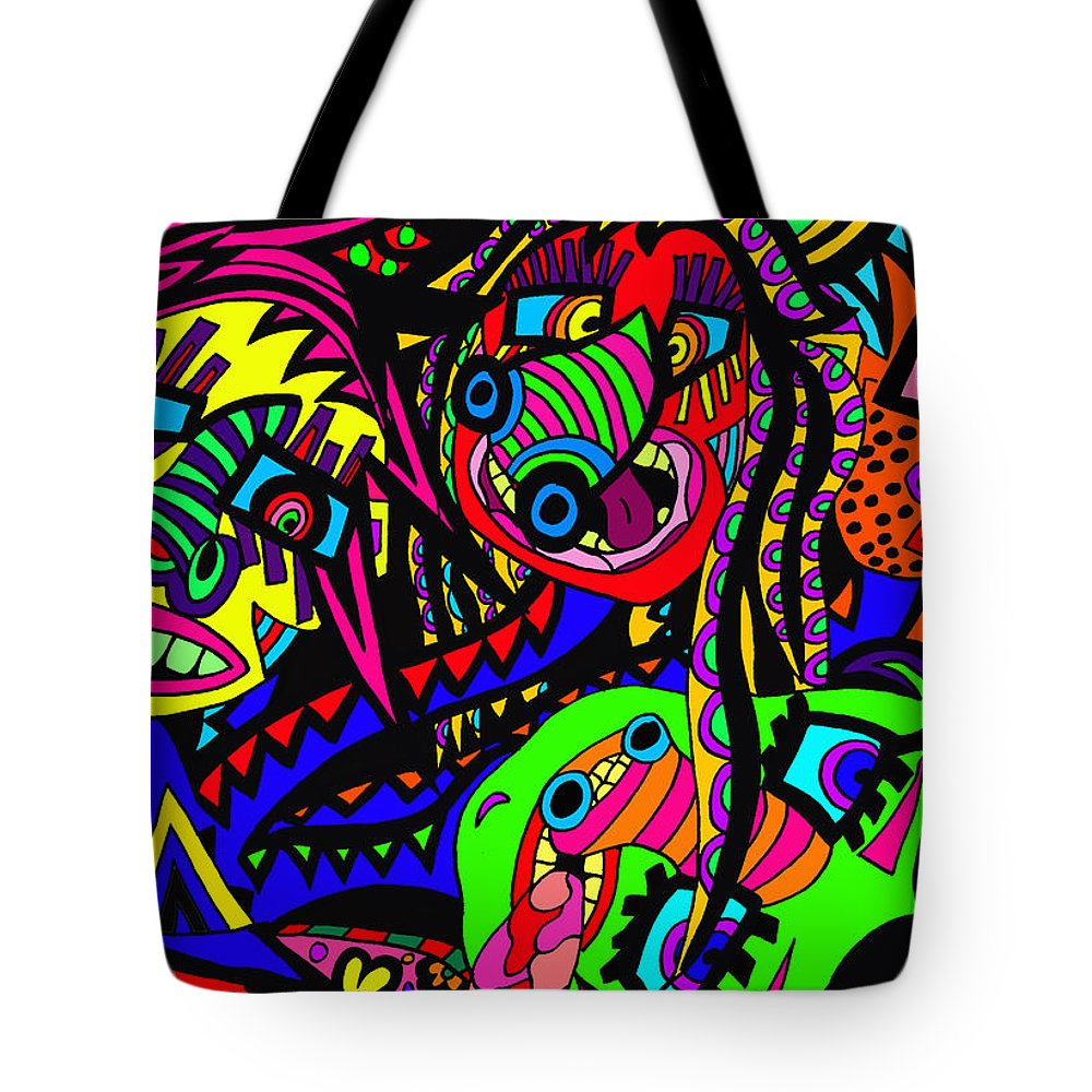 Joncrowds Tote Bag featuring the painting Where Are We by Karen Elzinga