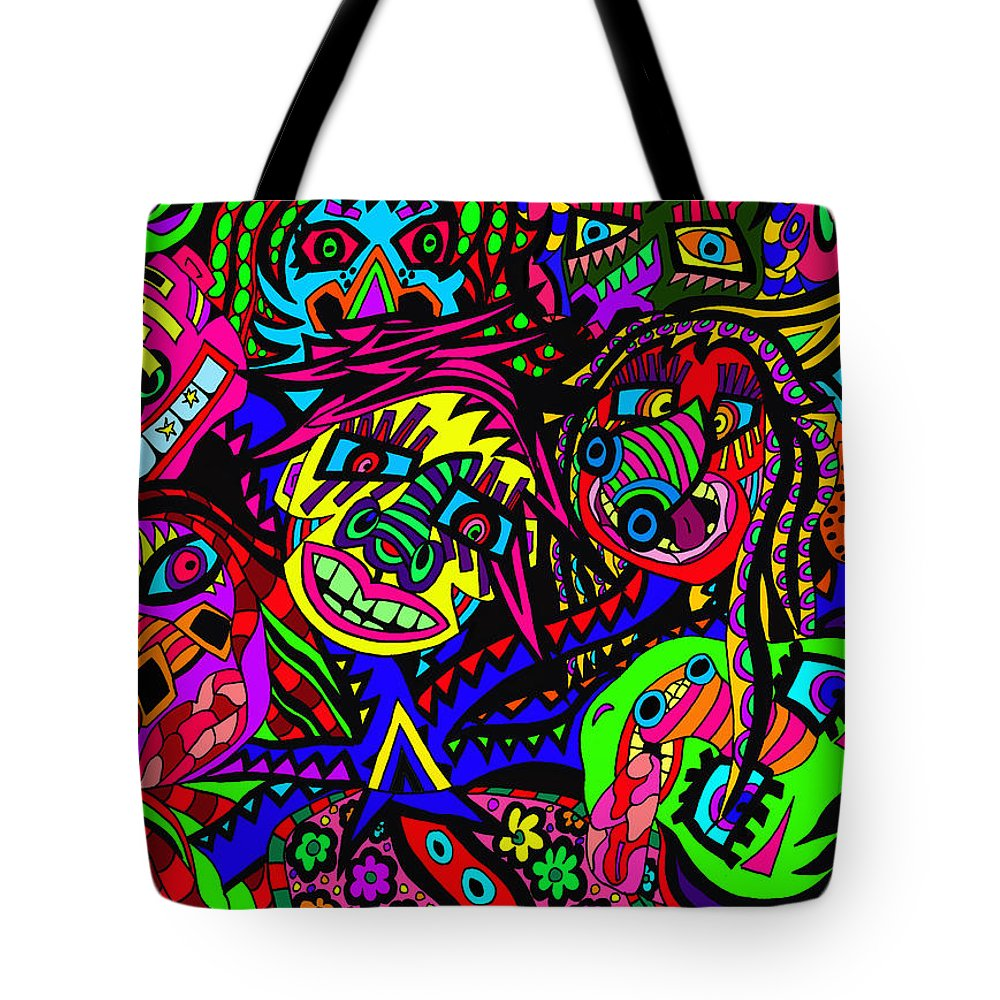 Joncrowds Tote Bag featuring the painting Where Did L Leave My Other Head by Karen Elzinga