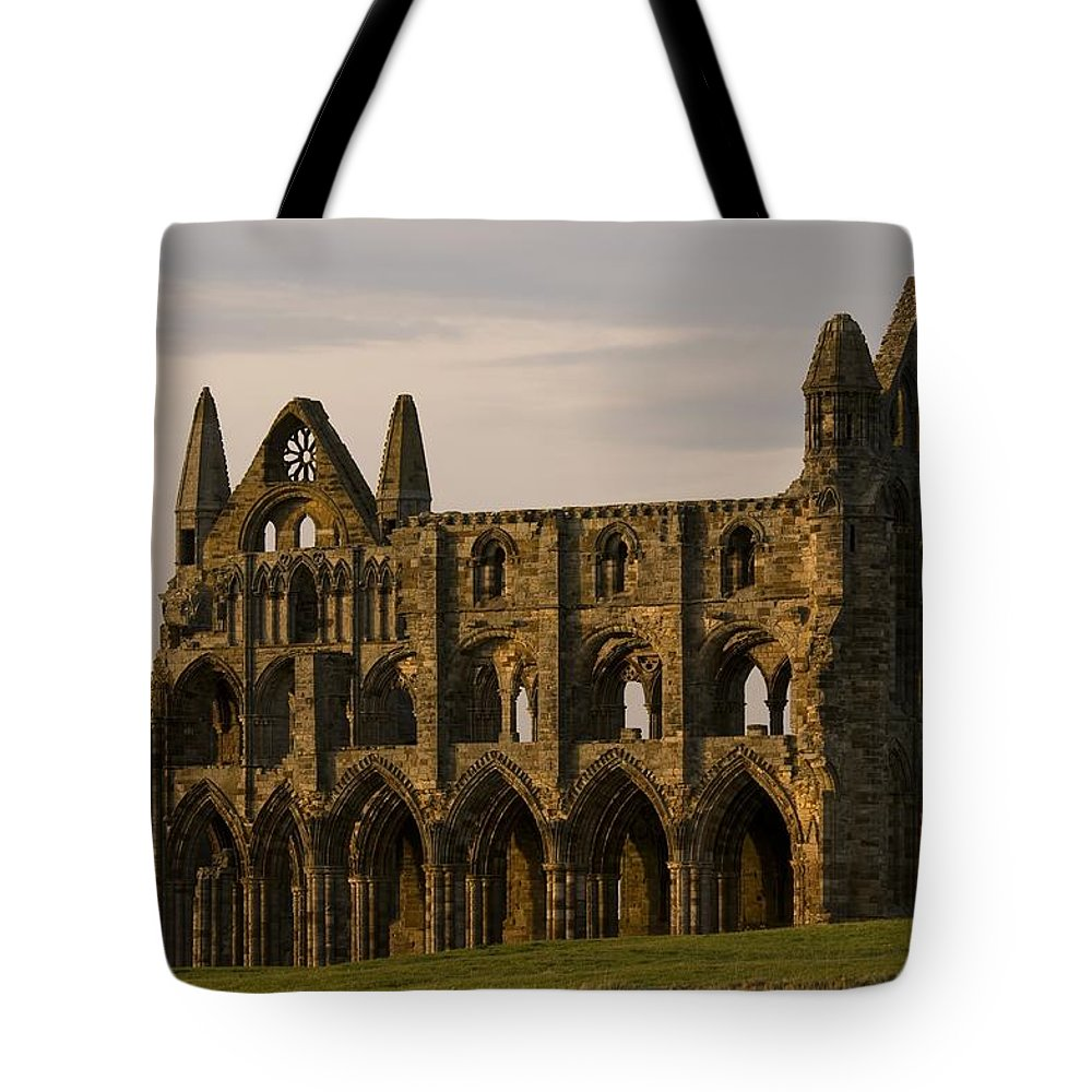 Abbey Tote Bag featuring the photograph Whitby Abbey by Martin Cooper