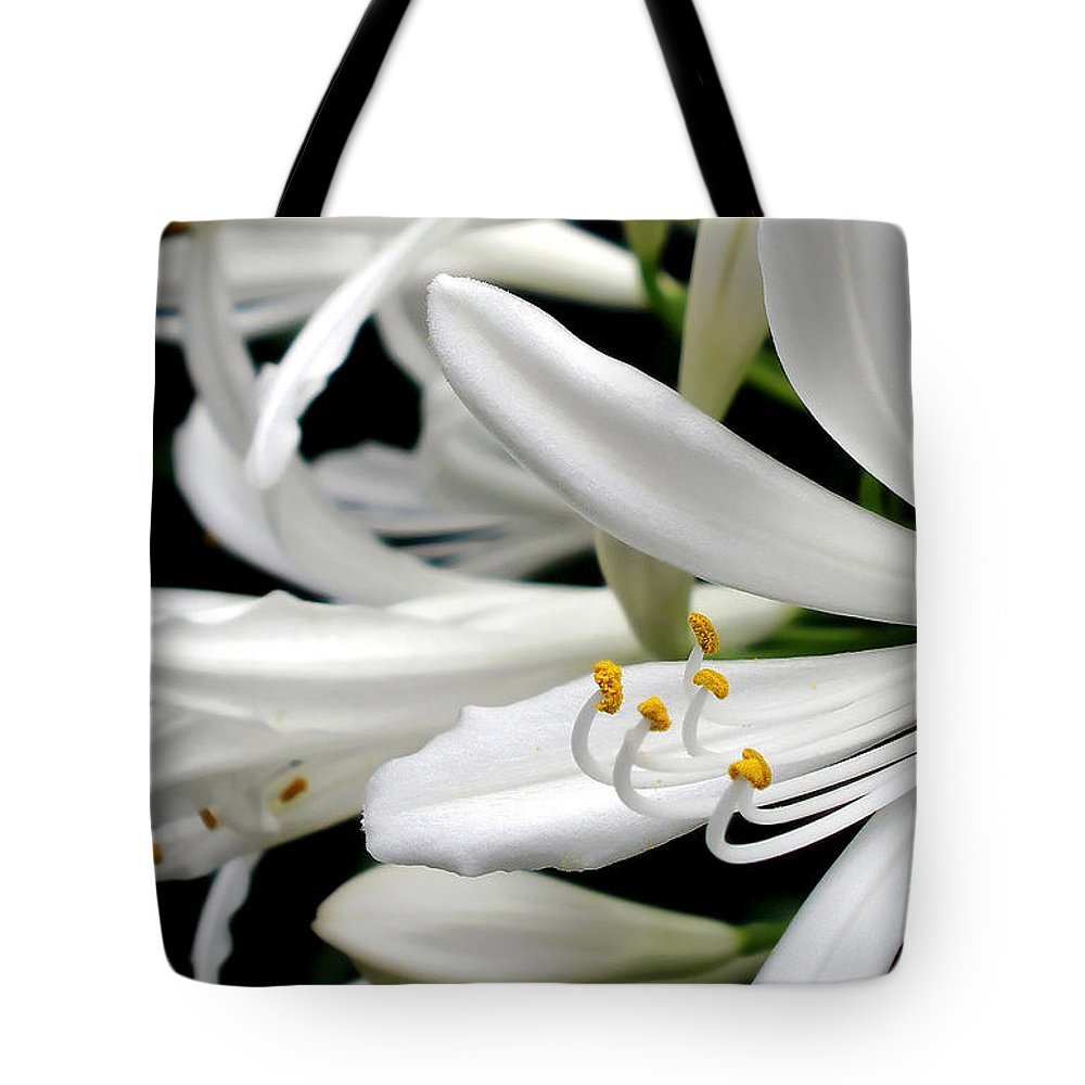 Photography Tote Bag featuring the photograph White Agapantha by Kaye Menner