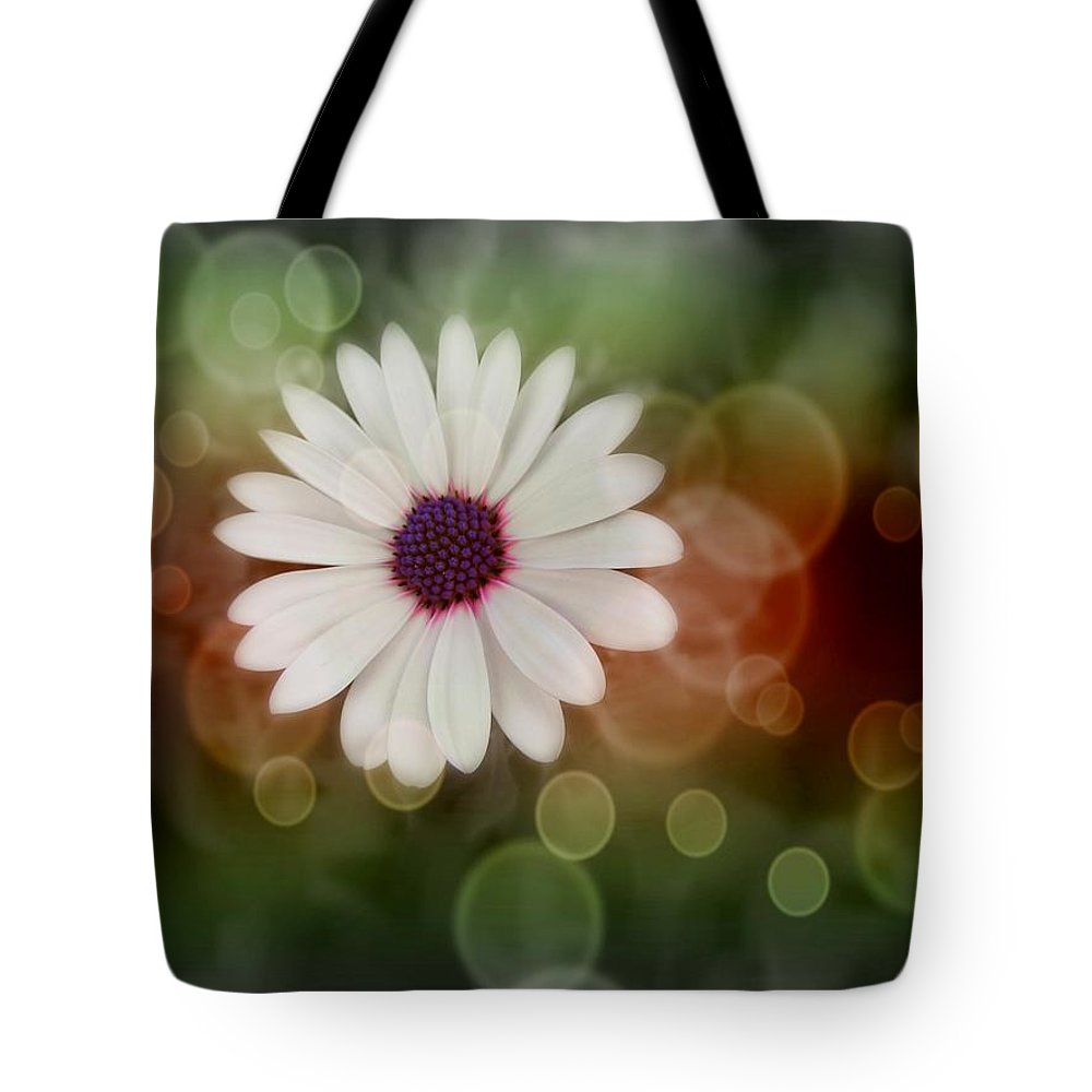 White Tote Bag featuring the photograph White Daisy In A Sunset by Marianna Mills
